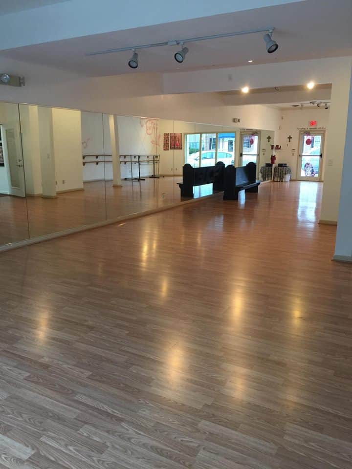 New floor and no walls featured in the 1000 square foot ballroom at Catherine's Dance Studio, 170 English Landing Drive, Suite 111 Parkville, MO 64152.