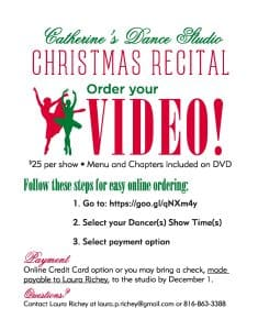Order your Christmas Recital Video today.